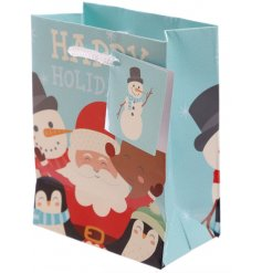 Bring some extra festive cheer to your gift giving this season with this Santa and Friends themed gift bag