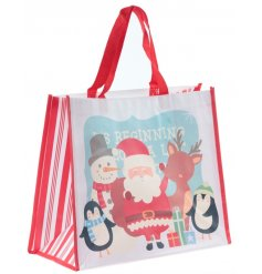 Bring some extra festive cheer to your gift giving this season with this Santa and Friends themed shopping bag