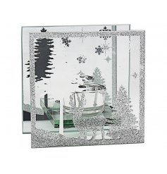 Indulge your home with a beautiful warming glow this christmas time with this stunningly finished mirrored glitter tligh