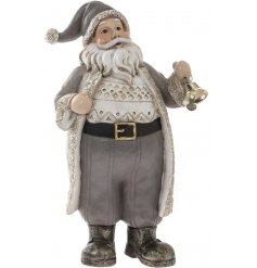 Add a subtle rustic edge to any home space this festive season with this neutral toned standing Santa ornament