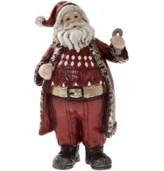 Add a subtle rustic edge to any home space this festive season with this festive red toned standing Santa ornament