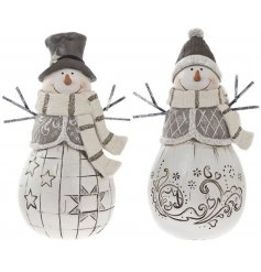 This adorable duo of assorted resin snowmen will be sure to bring cozy feel to any home space at christmas,