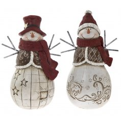 This adorable duo of assorted resin snowmen will be sure to bring cozy traditional touch to any home space at christmas,