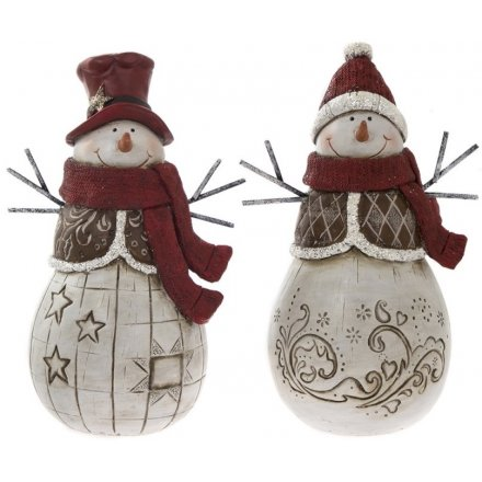 Large Red Resin Snowman Figures, 2ass