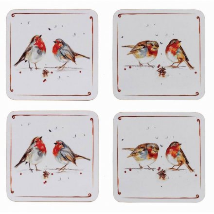 With its sweet sketched bird patterns and details, this set of 4 coasters will be sure to add a festive winter touch