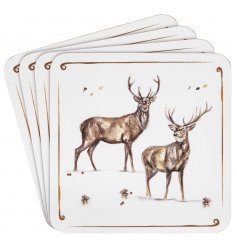 With its sweet sketched stag patterns and details, this set of 4 coasters will be sure to add a festive winter touch
