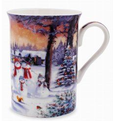 With its beautiful orange hues and illustrated Snowman Family scene