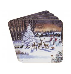 Macneil Snowman Family Coasters Set of 4  - With its beautiful orange hues and illustrated Snowman Family scene