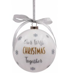 First Christmas Together Bauble  - A beautiful and sleek bauble hanging from a glittered silver ribbon