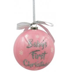 A sweet little rose pink hanging bauble, set with a sweet glittery 'Baby's First Christmas'