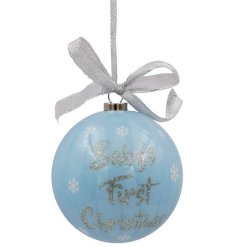 A sweet little baby blue hanging bauble, set with a sweet glittery 'Baby's First Christmas'
