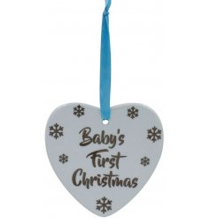 A sweet little baby blue hanging ceramic heart, set with a sweet silver 'Baby's First Christmas'