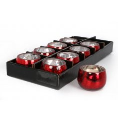 A Metallic Red Crackle Glaze Tealight Holder