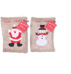An assortment of 2 Small Hessian Christmas Bags