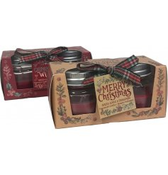 Indulge your home with a sweet scent of Spiced Apple and Cinnamon with this charming set of candle pots