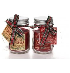 An assortment of 2 Merry Christmas and Christmas Wishes mason jar candles, each with a tartan bow.