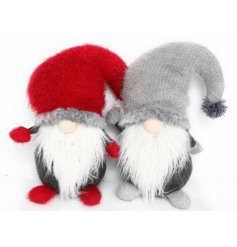 A mix of 2 charming red and grey knitted gonk designs with long beards. A lovely nordic style festive item.