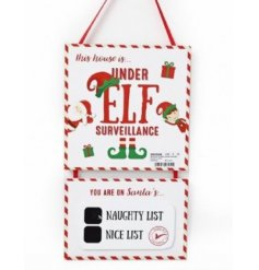 A fun and interactive elf surveillance sign with blackboard. Part of our elf range!