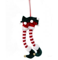 A charming elf legs decoration in rich red and green colours, with gold jingle bell toes.
