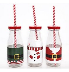 Enjoy a drink this season with these fun novelty milk bottles in Elf, Snowman and Santa designs.