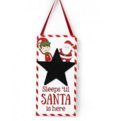 Get excited in the countdown to Christmas with this colourful Elf and Santa design chalkboard.