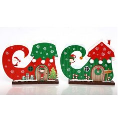 A mix of 2 colourful and quirky Christmas elf boot decorations. Great for little ones to imagine big.