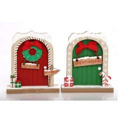 A mix of 2 novelty wooden doors leading you to the magical world of the Elf and Santa's workshop.