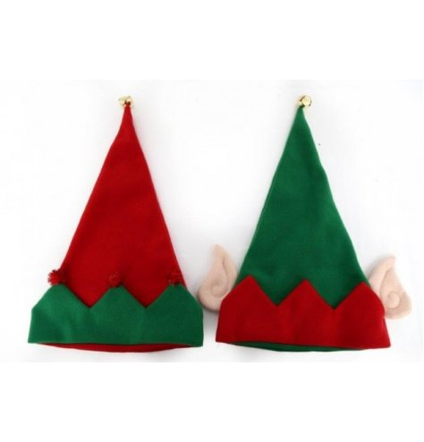 Assorted red and green novelty elf hats with ears, red pom poms and gold jingle bells.