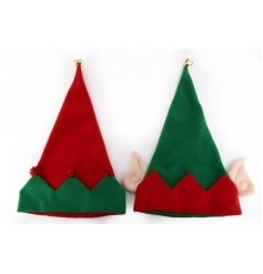 An assortment of 2 novelty elf hats. Each has a bell and pom poms or ears.