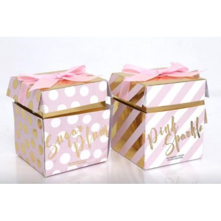 Pink & Gold Glass Candle Pots, 2 Assorted