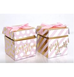 An assortment of 2 Candle Pots in pink and gold packaging