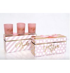 Triple glass Candle Pots in an assortment of pink and gold packaging