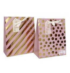 An assortment of 2 Pink & Gold Large Gift Bags