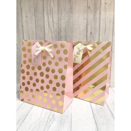 GB4958 Large PinkGold Gift Bag, 2 Assorted | 39114