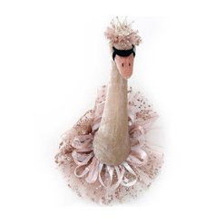An enchanting swan head decoration with a pink and gold frill collar and crown.