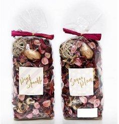 An assortment of 2 200g Pink & Gold Potpourri