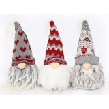 An assortment of 3 charming Santa heads with nordic style knitted hats in grey and red designs.