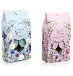 An assortment of 2 meadow/garden scented tealights