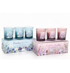 3 meadow & garden scented candle pots in a pink/blue gift box