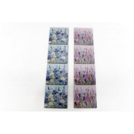 Set Of 4 Meadow & Garden Coasters, 2 Assorted