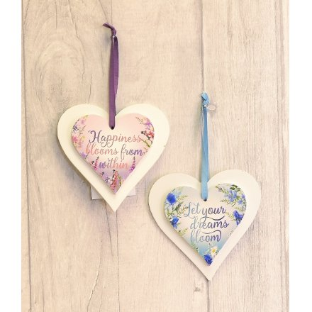 Meadow & Garden Heart Hanging Plaques, 2 Assorted