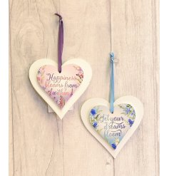 An assortment of 2 heart hanging decorations with meadow design