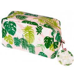A Tropical Palm Print Wash Bag