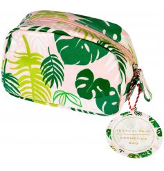 A Tropical Palm Print makeup Bag