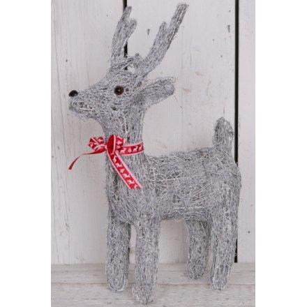 Medium Grey Woven Reindeer 47cm