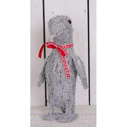 Rustic Woven Grey Penguin - Large 43.5cm