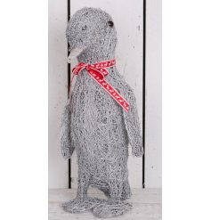 Bring a subtle rustic touch to your home decor this christmas with this adorable free standing woven penguin