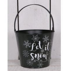 Bring home a chilly winter touch with this stylish black metal bucket with an added snowflake decal