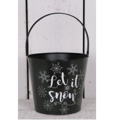 Add a chic winter touch to any garden or interior theme with this large metal coal bucket