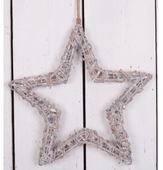A structured star shaped hanging decoration, wrapped and styled with a woven grey wash willow effect